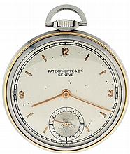 Patek, Philippe & Cie., Geneva, Switzerland. man's thin dress watch. 18 jewels. stem wind and set. adjusted to 5 positions, isochronism, and temperature. nickel bar movement with cotes de Geneve decoration, lever escapement. cut bimetallic balance.