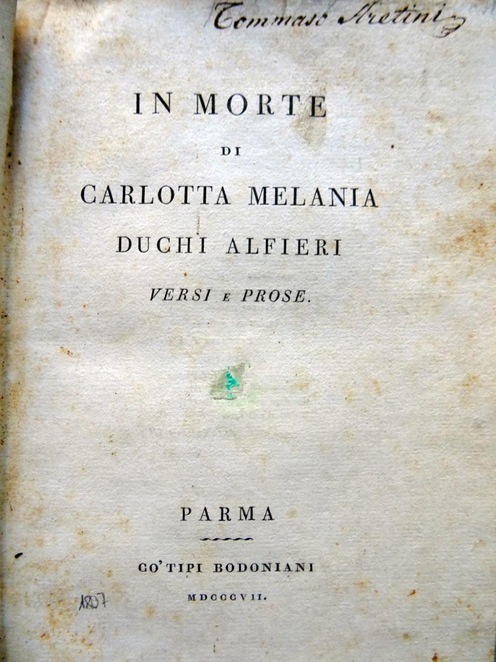 Alfieri - In morte di Carlotta