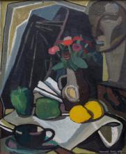 Hannes Loos (1913/19-1988), 'Kubistisches Stillleben mit Früchten, Blumen und Büste' / A cubist still life with fruit, flowers and a bust'