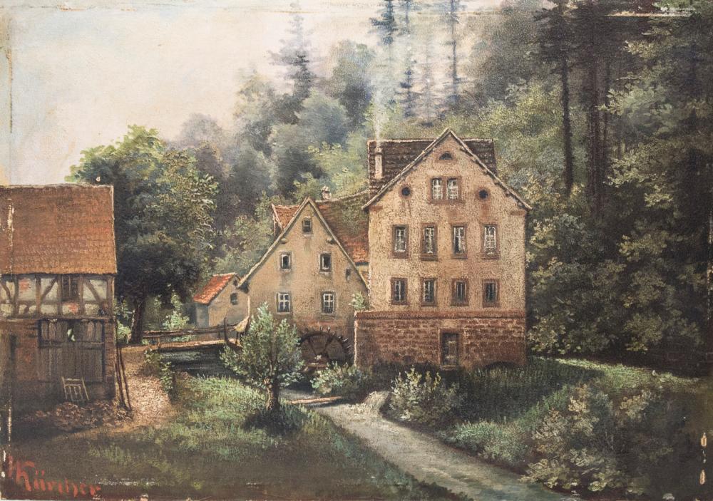 Amalie KÄRCHER (1850-1926), 'Gehöft mit Mühle' / 'A farmstead with mill', Ende 19. Jh.