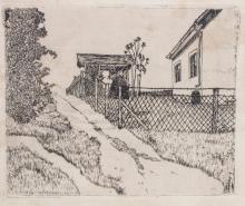 Alexander Olbricht (1876-1942), 'Feldweg am Zaun' / 'A path by a fence'