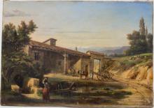Louise Joséphine Sarazin de Belmont (1790-1870) (Zuschreibung / Attributed), 'Südländisches Gehöhft mit Figurenstaffage' / 'A mediterranean farmstead'
