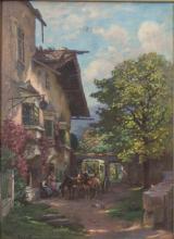 Josef Frank (1885-1967), 'Postkutsche vor einem Gasthof' / 'A stagecoach in front of a guesthouse'