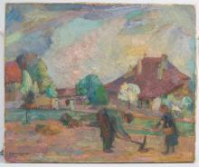 Abraham Hermanjat (Jacques-Elie-Abraham) (1862-1932), 'Bauern bei der Saat' / 'Seeding peasants', Schweiz, 1917