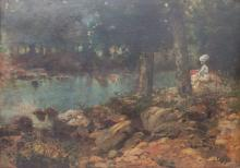 Andrés Larraga y Montaner (1861-1931), 'Waldszenerie mit Dame' / 'A forest scene with a lady'