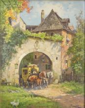 Josef Frank (1885-1967), 'Postkutsche am Stadttor' / 'A stagecoach by the town gate'