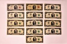 13 $2.00 Bill Error notes