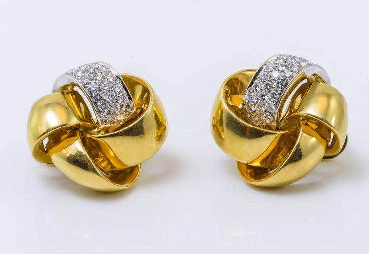18K YG and Plat. Diamond Earrings