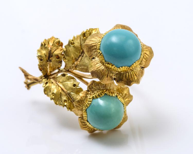 Buccellati 18K Yellow Gold Turquoise Brooch.