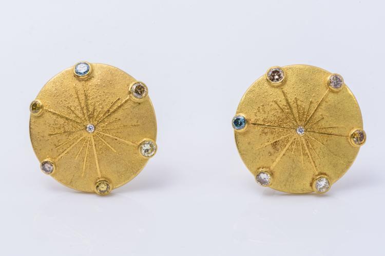 18k Yellow Gold Colored Diamonds Sun Disc Ear Clips.
