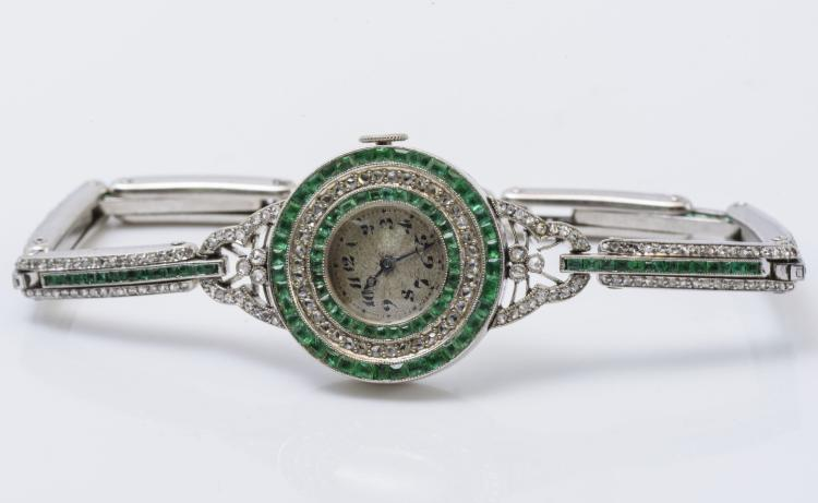 Antique Edwardian Plat. Diamond & Emerald Watch, C 1910.