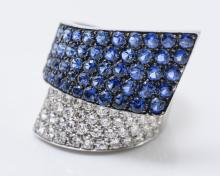 18K Two-Tone Gold Sapphire and Diamond Bypass Ring