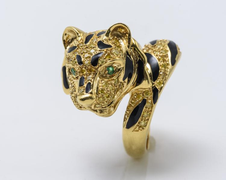 18K YG Diamond Emerald and Enamel Tiger Ring