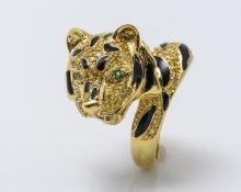 18K YG Diamond Emerald and Enamel Tiger Ring
