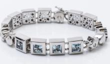 18K WG Aquamarine and Diamond Link Bracelet.