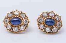 M. Buccellati 18K Two Tone Sapphire & Diamond Earrings