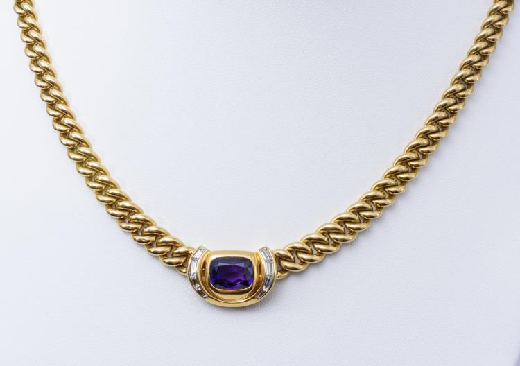 Bulgari 18K YG Amethyst and Diamond Necklace.