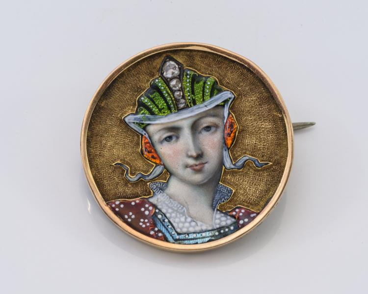 Antique Gold, Enamel and Diamond Portrait Pin.