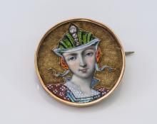 Antique Gold, Enamel and Diamond Portrait Pin.