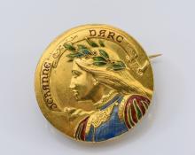 Jeranne Darc Antique Gold and Enamel Pin.