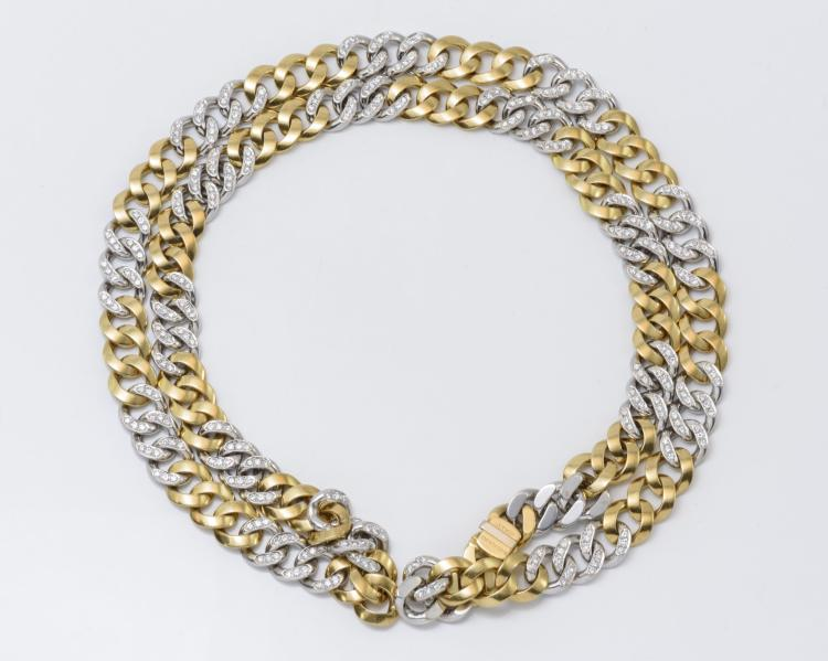Bvlgari Italy 18K Two-Tone Gold & Diamond Link Necklace