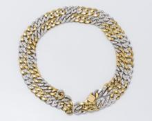 Bvlgari Italy 18K Two-Tone Gold & Diamond Link Necklace