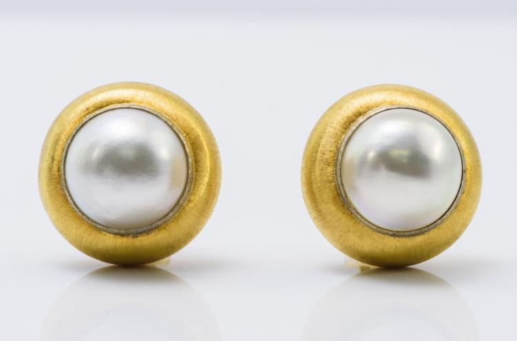 Buccellati 18K Yellow Gold Mabe Pearl Earrings