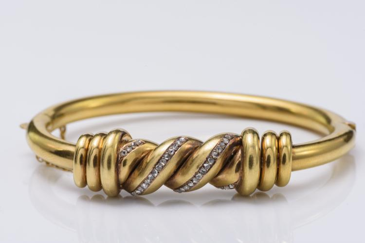 18K Gold Victorian Diamond Bangle
