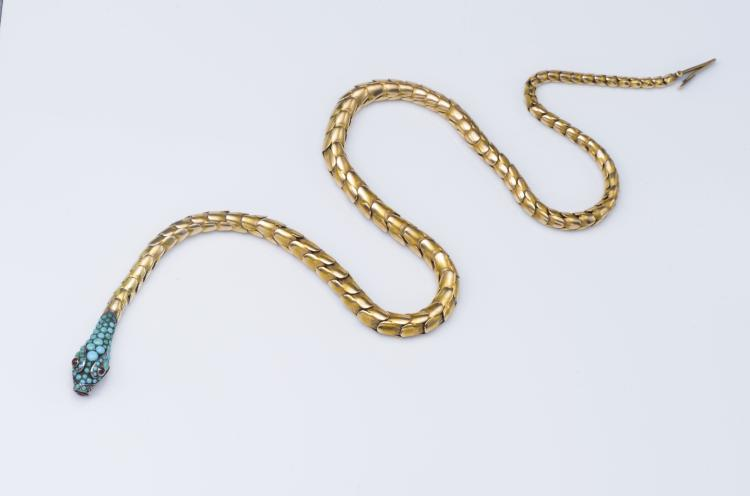 14K Gold Victorian Turquoise Snake Necklace