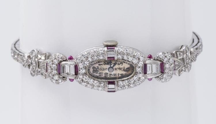 Art Deco Platinum Diamond and Ruby Watch