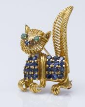 18K Gold Sapphire Cat Brooch