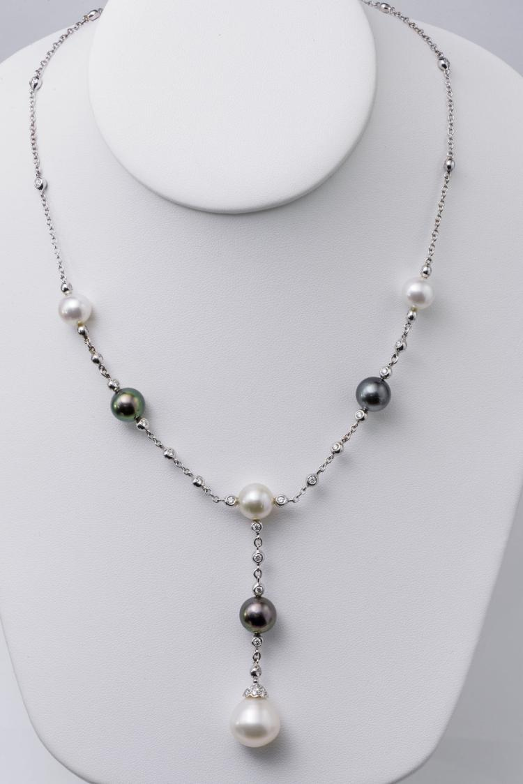 18K Diamond Culture Pearl Necklace