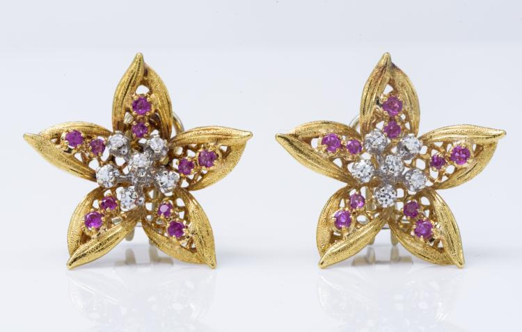 18K Gold Diamond Ruby EarClip From the 1940s