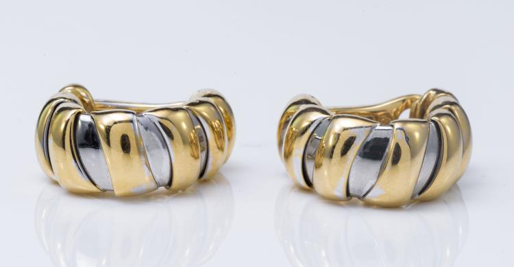 18K Gold Two-Tone Bulgari Earclips