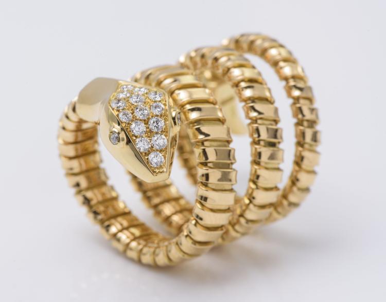 18K YG Flexible Diamond Snake Ring
