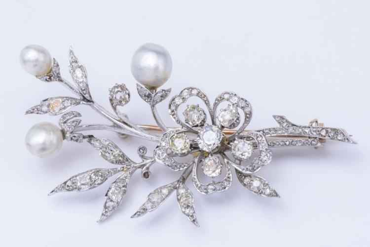 Antique Platinum, Diamond and Natural Pearl Brooch.