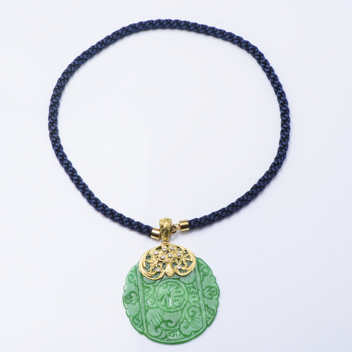 18K YG Jadeite Jade and Diamond Rope-Cord Necklace.