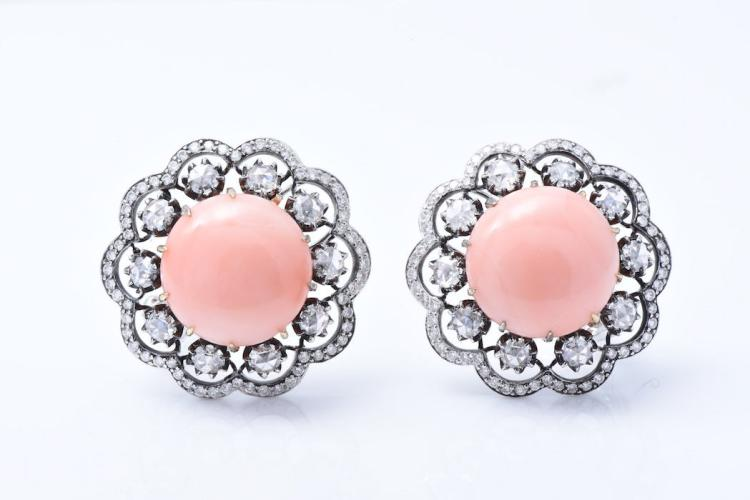 18K WG Coral and Diamond Ear Clips.