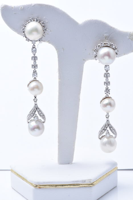 Diamond and Pearl Earrings.