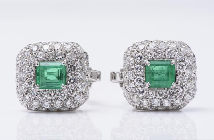 18K White Gold Columbian Emerald and Diamond Ear Clips.