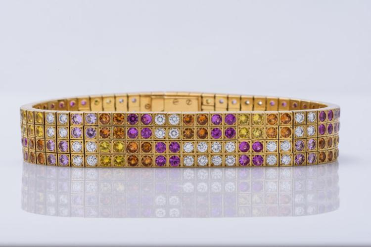 Cartier 18K YG Multi-Color Sapphire & Diamond Bracelet.