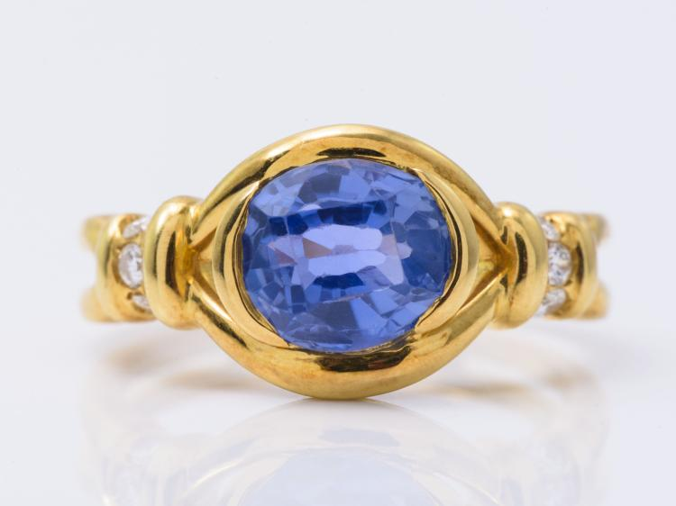 18K YG Sapphire and Diamond Ring.