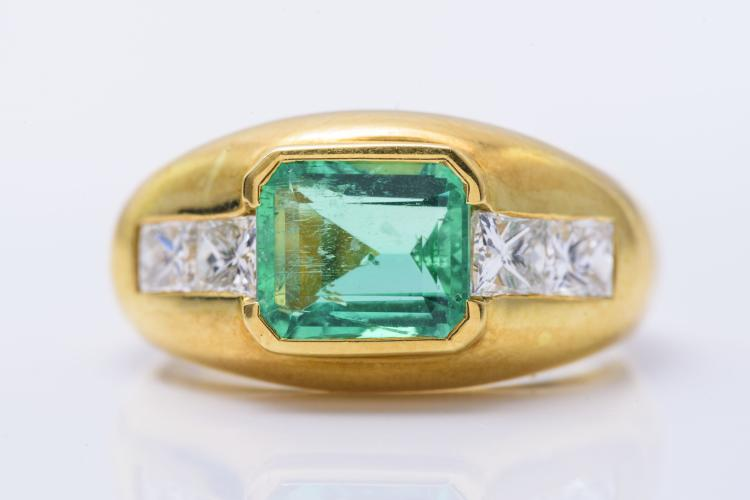 18K YG Columbian Emerald and Diamond Ring.