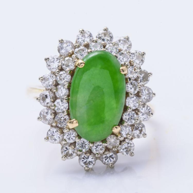 18K YG Jade Jadeite and Diamond Ring.