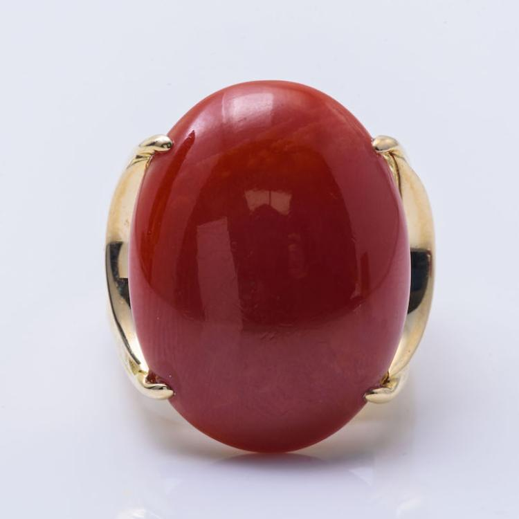 18K YG OxBlood Red Coral Ring.