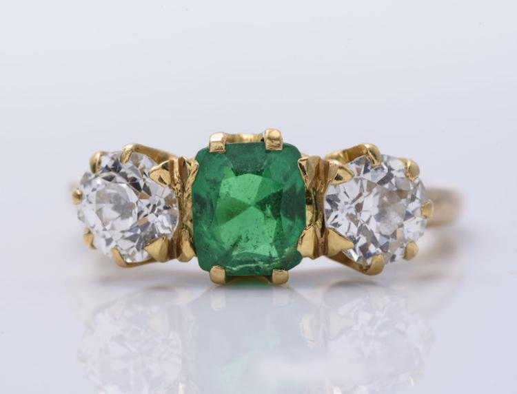 Antique 18K YG Columbian Emerald and Diamond Ring.