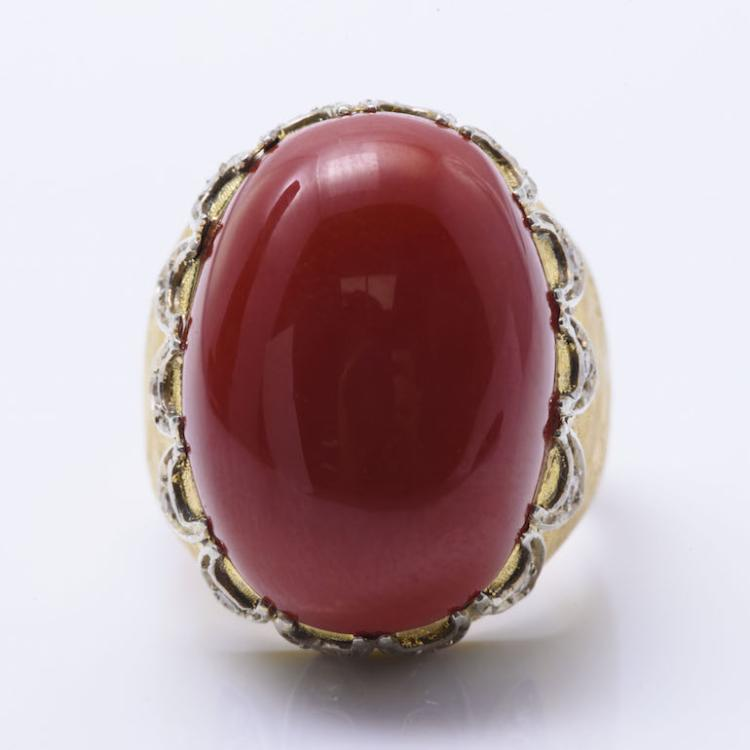 18k YG OxBlood Coral and Diamond Ring.