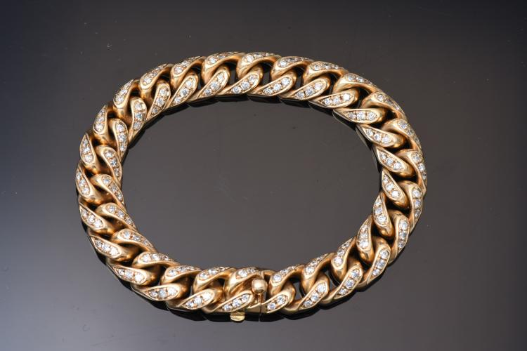 Bvlgari 18K YG Diamond Link Bracelet, From 1950's.