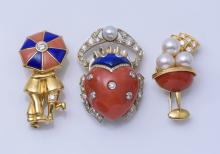 Two Van Cleef & Arpels & One Unsigned Coral & Lapis Pin
