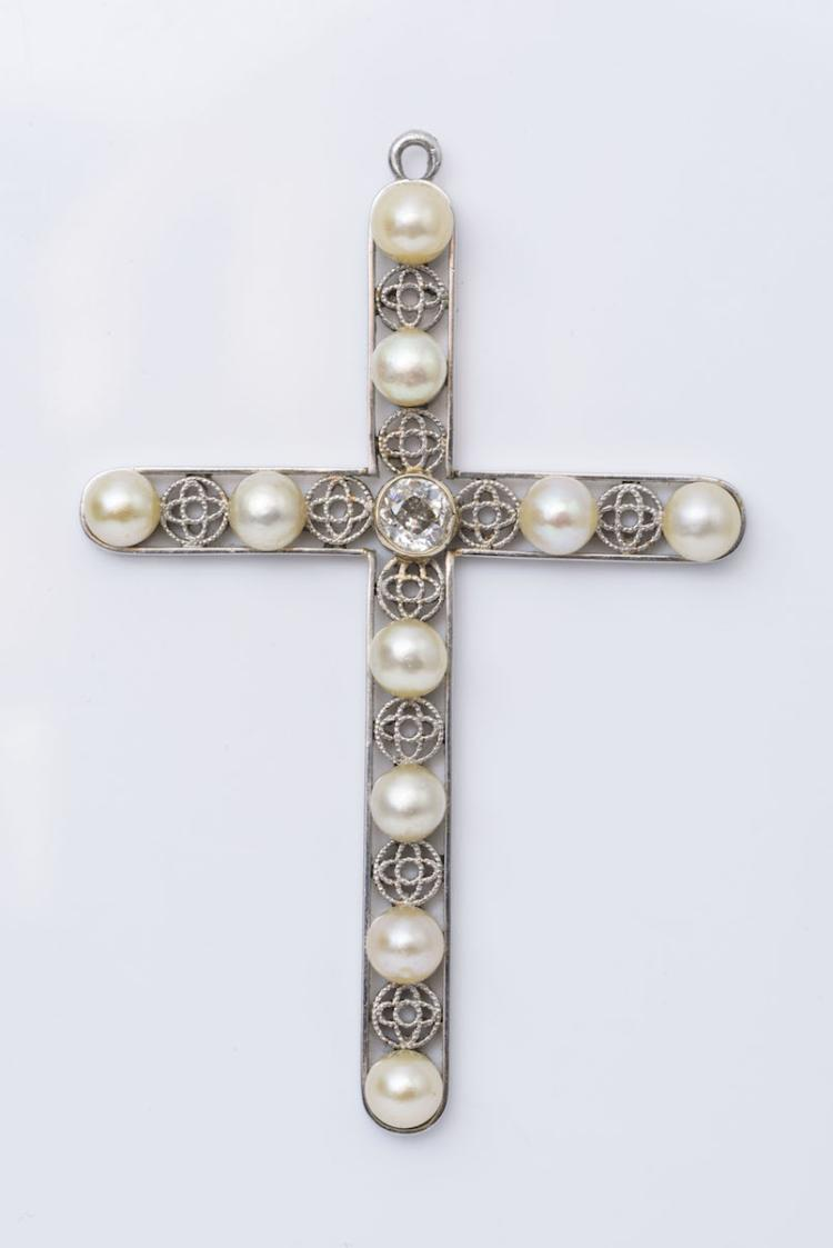 Antique 18K WG Natural Pearl Cross.
